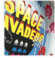 Space invaders wall at Loans Warehouse
